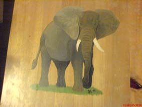 Elephant on stool
